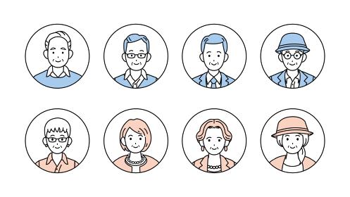 シニア 年配 高齢者 お年寄り 男女 人々 アイコン セット イラスト素材