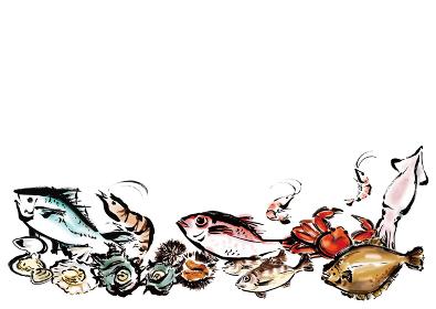 余白のある海鮮集合イラスト