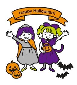 ハロウィンの仮装をした女の子2人のイラスト 3色カラー
