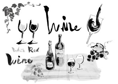 ワイン関連のワインボトルやグラスワインやぶどうや文字などのセット モノクロ