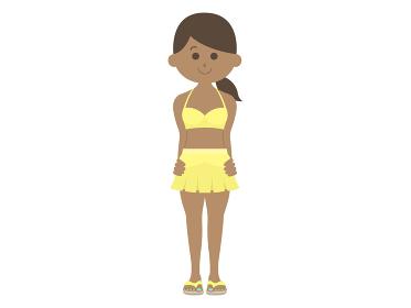 水着を着た日焼けした女性のイラスト