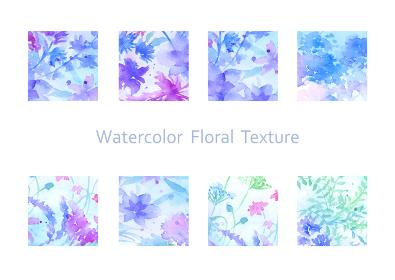 幻想的な水彩花柄の素材セット アイコン 青紫