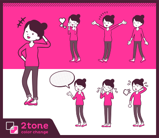 2tone type Bun hair pants style mom_set 03