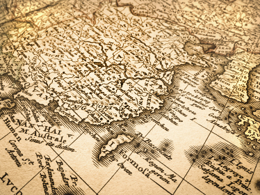古い世界地図 中国と台湾