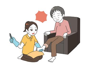 高齢女性のフットケア 深爪 女性介護士