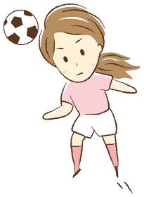 サッカーをする女の子 ヘディング