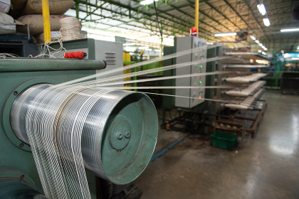 Production of nylon thread in a factory
