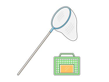 虫取り網と籠のイラスト