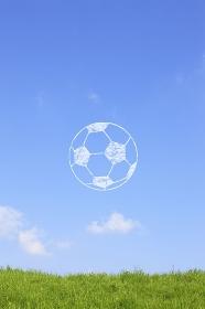 草原とサッカーボールの雲