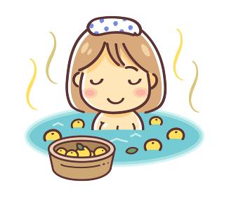 ゆず湯に入浴する女性のイラスト(ミニカット)