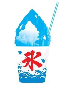カップに入ったかき氷ブルーハワイ