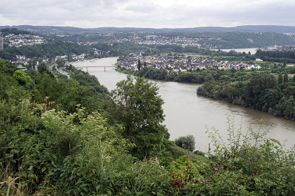 view of the rhine valley and the rhine island of niederwerth