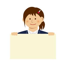 人物イラスト / フリップボードを持つ女性会社員