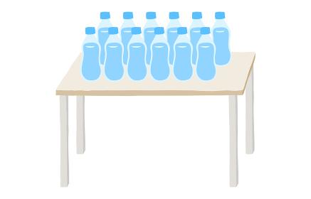 水分補給用の大量のペットボトルのイラスト