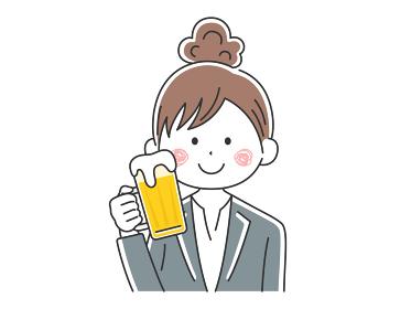ビールを飲むビジネスウーマンのイラスト