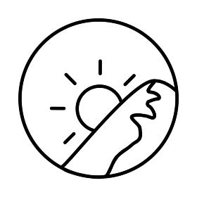 朝イメージの丸型アイコン(線画、黒)