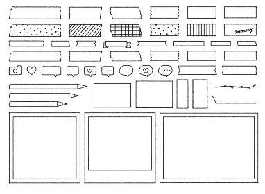 フォトフレームとマスキングテープのイラストセット
