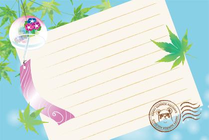 暑中見舞葉書デザイン|風鈴と楓と便箋の背景イラスト消印スタンプ|夏のイメージ