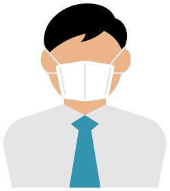 マスクを着けたサラリーマン・ビジネスマン (上半身) / カラーイラストアイコン