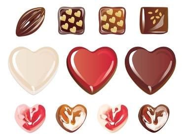 ハート形のバレンタインチョコのセット