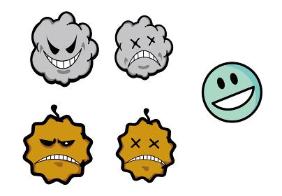 ウイルス・ばい菌・微生物・埃・塵イメージイラストセット