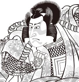 浮世絵 歌舞伎役者 その37 白黒