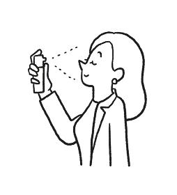 ミスト化粧水でリフレッシュする女性の線画イラスト