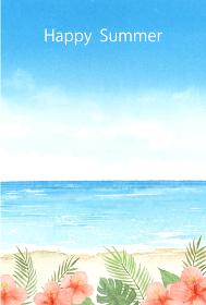 暑中はがきテンプレート 夏の海とハイビスカス 水彩イラスト