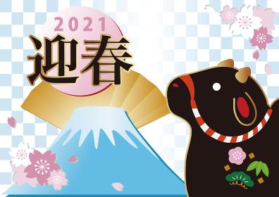 正月素材 丑年 富士山 桜 土鈴 市松模様 背景 イラスト素材