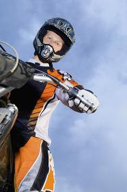 Male Bike Rider With Motorbike
