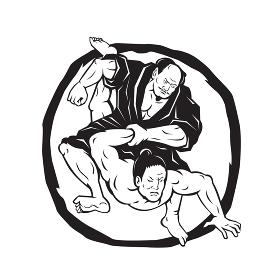 Samurai Jiu Jitsu Judo Fighting Drawing