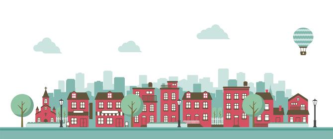 横並び ビル・建物・家 (風景・街並み) バナーイラスト