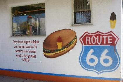 セリーグマンの歴史的ルート66歓迎看板