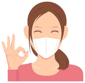 マスクを着けた若い女性 (上半身) イラスト(安心・オッケー・イイね) / コロナウイルス