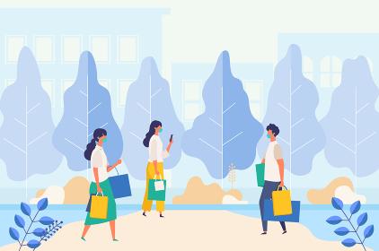 コロナ禍の夏のショッピングを楽しむ人々