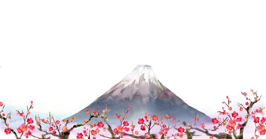 墨で描いた富士山のイラスト