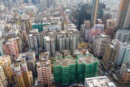 Sham Shui Po, Hong Kong, 19 March 2019: Top view of Hong Kong city