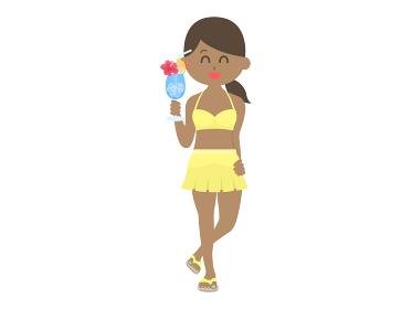 ドリンクを持った水着女性のイラスト