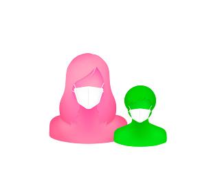 マスクをした抽象的・立体的な人物シルエットイラスト(上半身) /母と息子・お母さんと子供