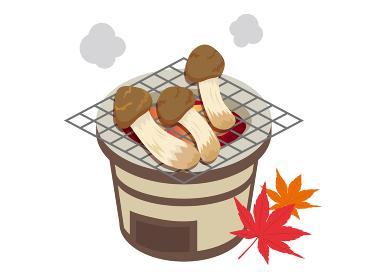 七輪で松茸を焼くイラスト