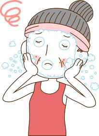 肌荒れ クレンジング ニキビ スキンケア 美容 50代女性 イラスト