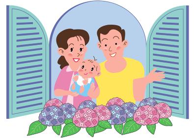 あじさい咲く窓辺の赤ちゃんを抱くカップル