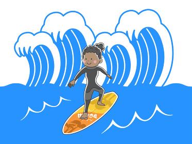 海でサーフィンをする女性のイラスト