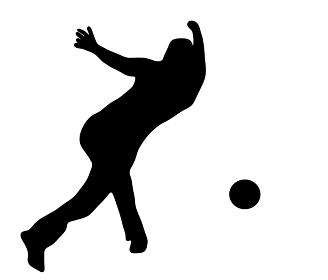 ボウリングをする人のシルエット