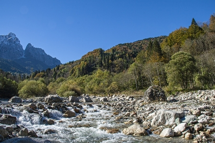 Mountain landscape with torrent on the dolomites 6