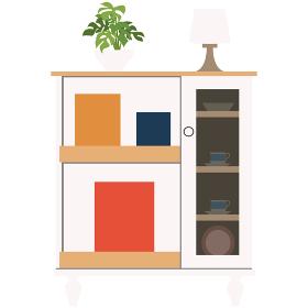 イラスト素材 収納ラック 棚 ディスプレイラック 収納 棚 北欧 ベクター