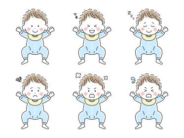 ベビー服を着た赤ちゃんのイラストセット