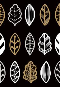 北欧風の木の葉のシームレスパターン