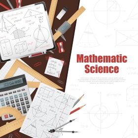 Mathematic Science Background Poster. Mathematic science poster with huge title on white background right side stationery and solutions on left side vector illustration