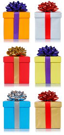Birthday christmas gifts collection presents portrait format isolated on white